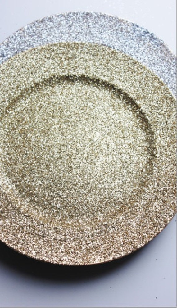 Set of 2 GOLD GLITTER CHARGER Plates Chargers Hand Glittered Tableware Plate Bride Groom Glittery Golden Gatsby Glam Wedding Sparkle Place & Set of 2 GOLD GLITTER CHARGER Plates Chargers Hand Glittered