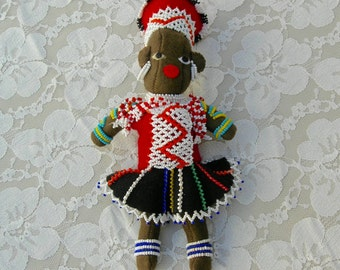 "Beautiful Beaded African Mother Doll & Baby, 8"" finely beaded, authentic costume, international collectible doll"