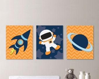 Baby Boy Nursery Art - Astronaut Nursery Art - Astronaut Nursery Decor, Astronaut Bedroom Art, Astronaut Bedroom Decor, Orange Navy (NS-610)