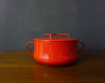 Vintage Dansk Kobenstyle 2qt Apple Red In Large Dutch Oven, Enameled Steel Mid Century Modern Enamelware, 1960s France, Jens Quistgaard
