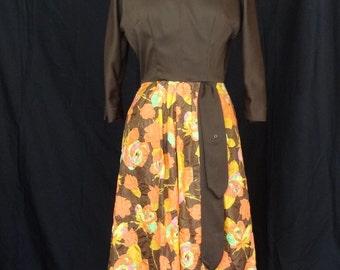 DRESS SALE!! 1960s Dress / Brown Bodice Bracelet Length Sleeves w Orange & Pink Floral Crinkle Fuller Skirt Party Dress