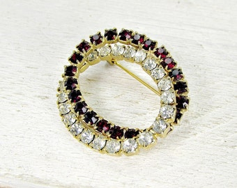 Vintage Eternity Brooch Pin, Red Clear Rhinestone Crystals, Gold Plated Double Linked Circles, 1950s Retro Costume Jewelry, Mothers Day Gift