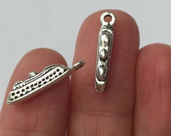 8 Cruise Ship Charms Antique Silver 20mm x 5mm - SC275