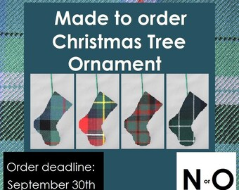 Mini-tartan Tree Decoration in tartans like Napier, Nicolson, Nisbet, Ogilvie, Oliver, Ontario, Nova Scotia