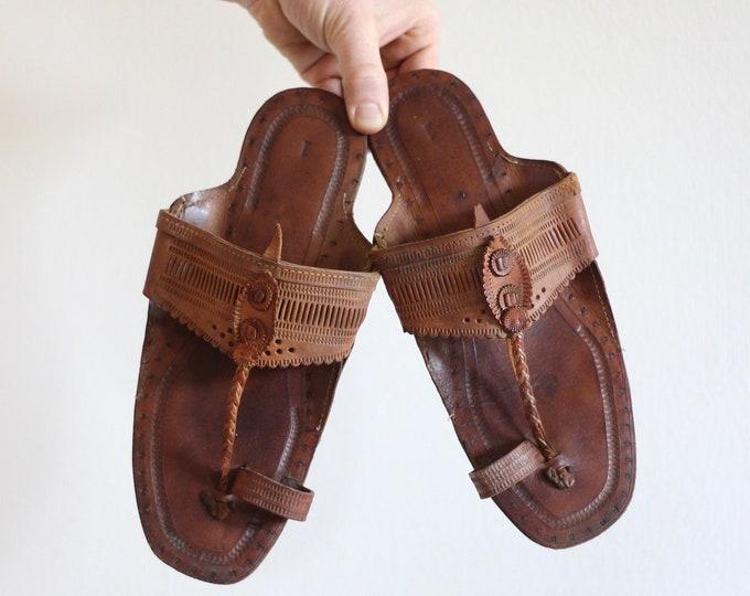 Leather Hippie Desert Sandals Bohemian Tooled Indian Flip Flops Men's 8.5 Men's 9 Summer Sandal Shoe Unique