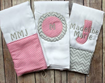 Monogrammed Baby Girl Burp Cloth Set, Pink and Gray Burp Cloth, Baby Girl Gift, Baby Shower, Baby Girl Burp Cloth Set, New baby gift
