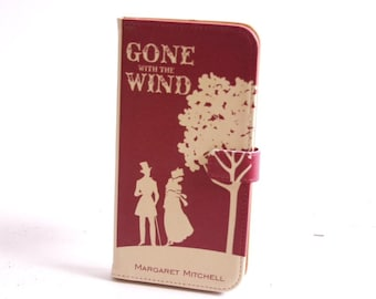 Book phone /iPhone flip Wallet case- Gone with the Wind for  iPhone X, 8, 7, 6, 6 7 & 8 plus, 5 5s 5c Samsung Galaxy S9 S8 S7 Note 5 7 8, LG