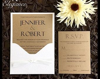 Rustic wedding invitations, Rustic Wedding invite with white Pocket