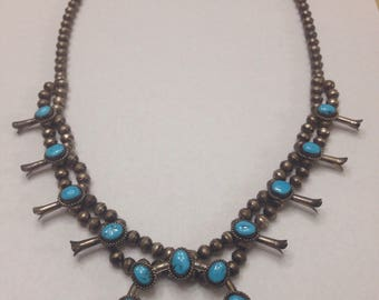 Vintage Hand Crafted Sterling Silver and Turquoise Necklace