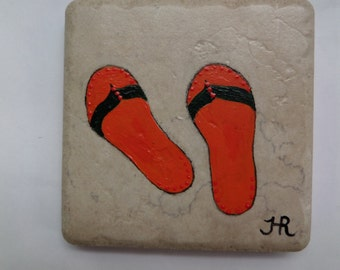 "Flip Flops Tile coaster Orange 4x4"" Hand Painted Italian Porcelain, One of a kind,Unique colorful usable art, wall decor  by Helen Rosenhaft"