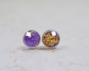 Tiny Purple and Gold Flake 8mm Stud Earrings, Simple Minimal Jewelry, Purple Plastic Studs, Checkerboard Cut Posts, Lavender