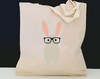 Personalized Bunny Tote Bag (FREE SHIPPING), 100% Cotton Canvas Bunny Tote Bag, Bunny Tote Bag, Bunny with Glasses, Bunny Tote, Bunny Gift