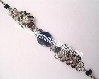 Round Black Onyx Alpaca Silver Curls Bracelet Peruvian Jewelry - Handmade in Peru