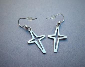 Sterling Silver Dangle Cross Earrings