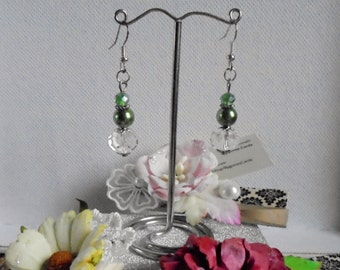 Green glass pearl and Czech crystal drop earrings for pierced ears.
