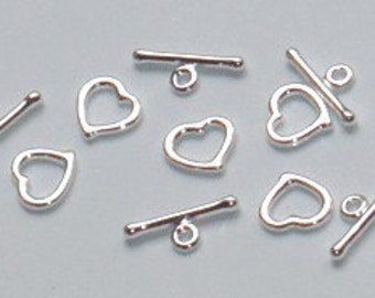 50 sets of silver electro plated heart toggle clasp with no loop 8mm