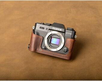 Fujifilm fuji XT10 XT20 Handmade Half Case Cowhide leather insert Camera bag Protector HandGrip Holster sleeve