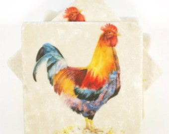 Rooster 4 Absorbent Tumbled Stone Coasters Original Watercolor
