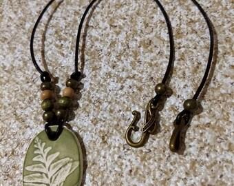 Leaf imprint pendant necklace - green fern