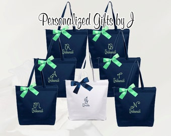 8 Bridesmaid Gift Personalized Zippered Tote Bag Monogrammed Tote, Bridesmaid Tote, Personalized Tote Wedding