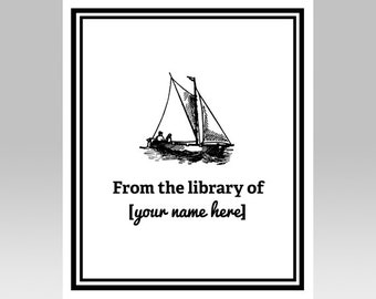 PRINTABLE Sailboat Custom Printable Bookplate | Boat Book Plate | Nautical Book Name Plate | Personalized Printable, DIY Gift