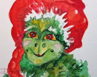 Old Grinch Christmas Fantasy 11x9 Original Watercolor Painting Art By Delilah