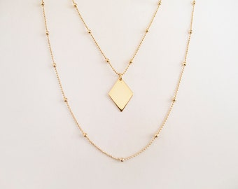 Gold Rhombus Necklace - Gift for Her