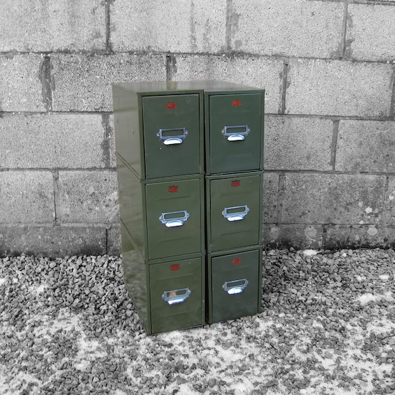 Industrial 1950s Veteran Index Filing Drawers - British Made.