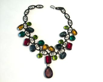 VINTAGE - COLORED GLASS Choker - 1990s