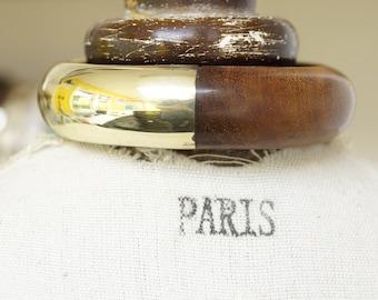 VINTAGE, VINTAGE JEWELRY, vintage bangle, brass bangle, wood bangle, brass and wood bangle, 1940s vintage jewelry, wood jewelry lover gift