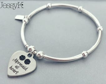 Sterling Silver Quote 'Mermaid At Heart' Charm Bracelet