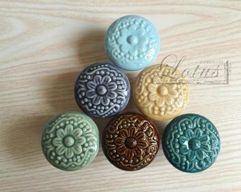 Plum relief ceramic knob - Cabinet knob - Drawer knob - Drawer pull
