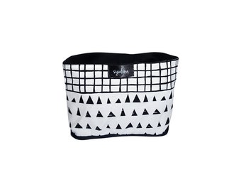 Storage bucket, Lined Fabric Bucket, Triangles and Grid Pattern, 100% Cotton Room decor Scandinavian design Housewarming Gift
