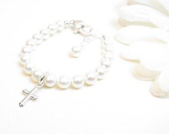 Baptism or Christening Bracelet - Infant Baby Cross Bracelet - Girl Christening or Baptism Gift - Girl First Communion or Confirmation Gift