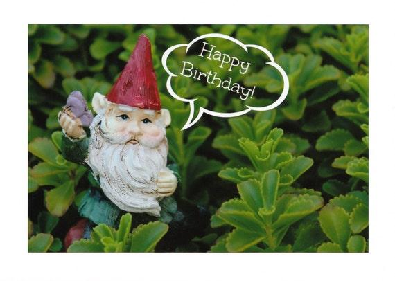 Garden Gnome Happy Birthday Photo Note Cards : Set of Ten