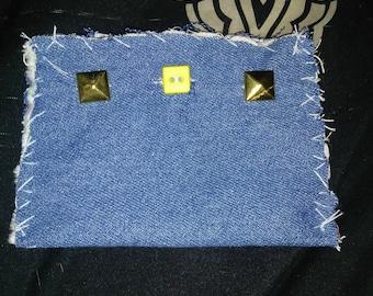 Blur denim studded coin purse