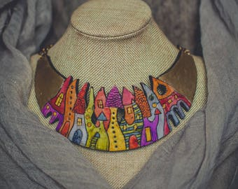 Statement necklace Bib necklace gold necklace bright necklace colorful necklace polymer clay necklace Hand-painted necklace boho necklace