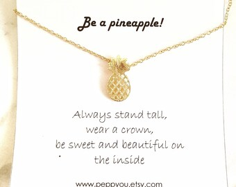 Pineapple Necklace, Gold Pineapple Necklace, Pineapple Pendant Necklace, Pineapple Charm Necklace, Summer Necklace, Fruit Necklace, for her