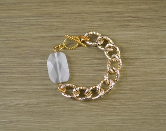 CLOSEOUT Chunky Gold Chain Bracelet with White Stone - Glass Bead Bracelet - Chunky Stone Bracelet - White and Gold Bracelet - Bead Bracelet