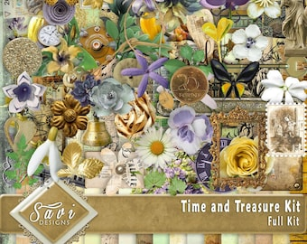 Digital Scrapbooking Kit TIME AND TREASURE great for vintage, heritage scrap pages, memories and grandparents, use for female or male