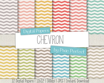 "Pastel Chevron - Digital Paper - 12x12"" Paper Pack Scrapbooking Paper Pattern Backgrounds, Instant Download, Commercial Use OK CU4CU (1)"