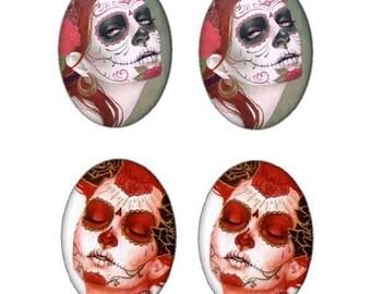 4 calaveras, skull drawing, 18x25mm