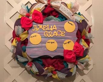 Hospital Door Hanger Girl - Baby Girl Nursery - Baby Girl - Baby Girl Hospital Door Hanger -  Birth Annoucement - It's A Girl - Girl Nursery