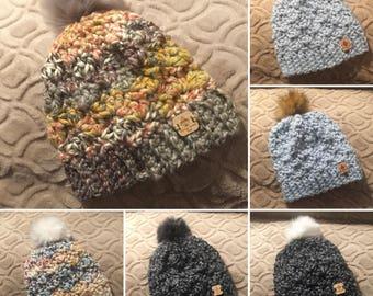 Newcastle Crocheted Beanie with Faux Fur Pom-Pom