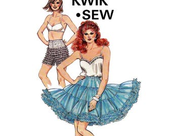Kwik Sew 1481 Womens Square Dance Petticoat & Ruffled Panties 80s Vintage Sewing Pattern Sizes S - XL UNCUT Factory Folds