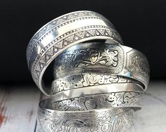 Tibetan silver Bohemian stacking Cuff bracelets Alloy silver plated cuff bracelet hippie Gypsy style bracelet by Inali