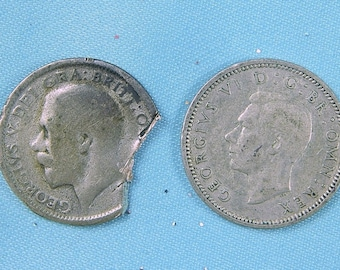 Vintage Antique Old Set of 2 Great Britain England  British English 1925 1942 Collectable Coin Sixpence Gift for Him