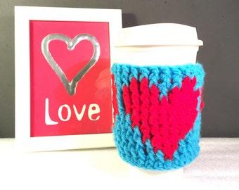 Heart cup cozy, crochet heart cozy, Valentine cup sleeve, Valentine cup cozy, heart coffee sleeve, coffee cup cozy, crochet cup cozy,