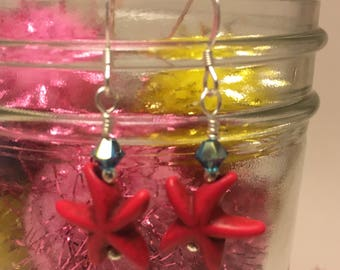 Hand Made Earrings-Red Starfish