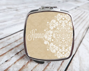 Bridesmaids Gift - Compact Mirror - Vintage Lace Damask in Latte